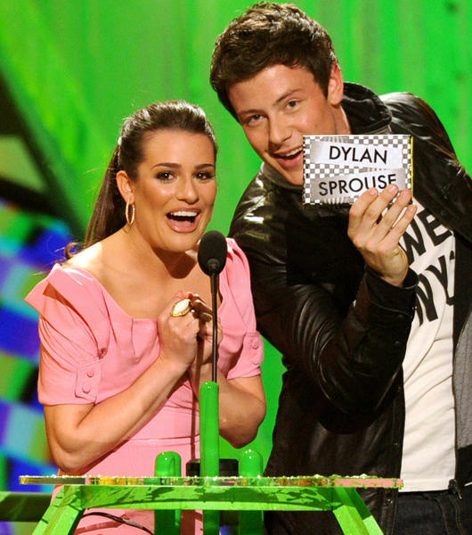 Lea Michele (L) and actor Cory Monteith present the Favorite TV Actor award onstage at Nickelodeon's 23rd Annual Kids' Choice Awards held at UCLA's Pauley Pavilion on March 27, 2010 in Los Angeles, California.