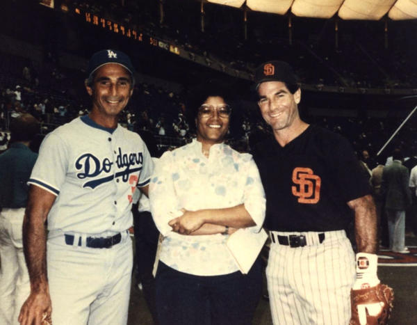 Claire Smith with Sandy Koufax (left) and Steve Garvey at the 1985 All-Star Game.