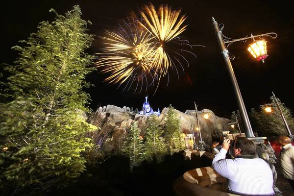 Fireworks blast over The Beast's Castle during a preview party Wednesday evening at the New Fantasyland at Walt Disney World's Magic Kingdom, December 5, 2012.