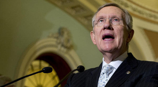 Senate Majority Leader Harry Reid at a news conference on Capitol Hill.