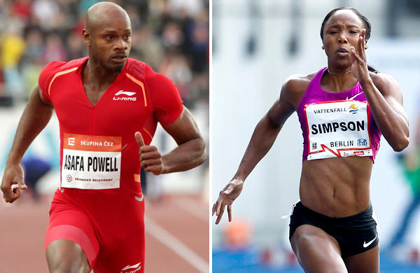 Sprinters Asafa Powell and Sherone Simpson have both tested positive for banned stimulants, according to Jamaica's track federation.