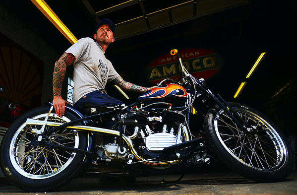 Jason Sheetz of Hagerstown sits on the 1931 Harley-Davidson VL that he customized and took to the Born-Free 5 motorcycle event in California. He didn't get to bring it home, because a raffle winner chose the bike as his prize.