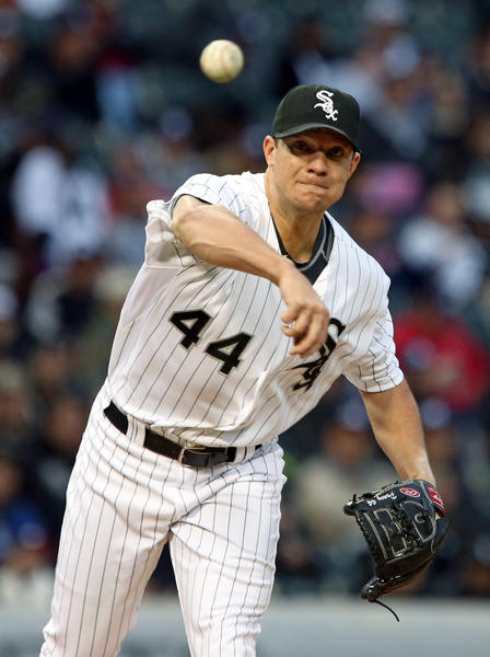 Jake Peavy of the White Sox throws to first base in the fifth inning against the Marlins at U.S. Cellular Field on May 25.