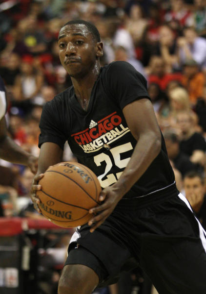 Bulls guard Marquis Teague handles the ball during the first quarter against the Grizzlies of an NBA Summer League game at Cox Pavilion.
