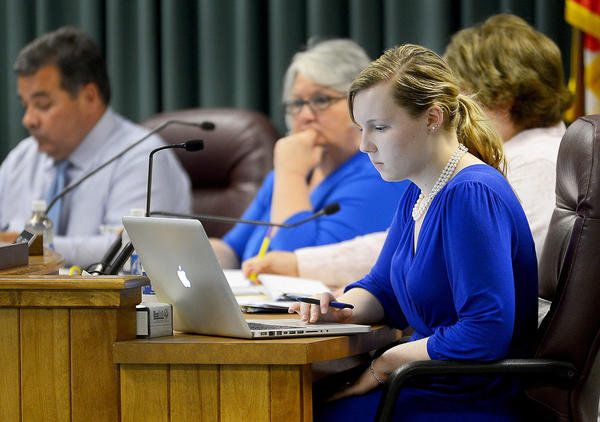 Amanda Krehbiel, the immediate past student representative to the Washington County Board of Education, participates in a board meeting at the school system's central office complex on Commonwealth Avenue in Hagerstown.
