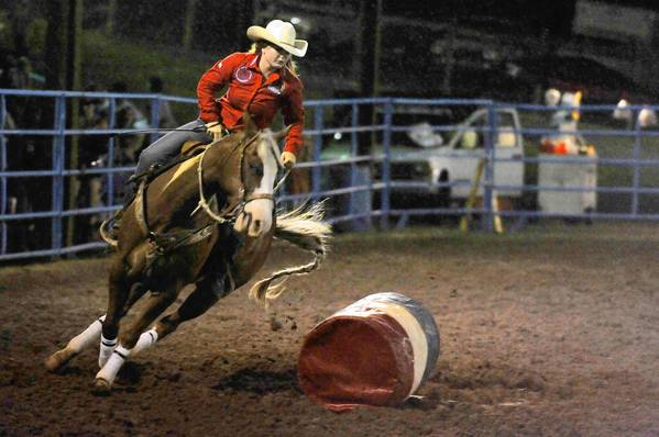 Calf-roper Danielle Casilio competing at the Mountain Springs Arena near Hamburg in June. She will compete in Wyoming this week at the National High School Rodeo Finals.