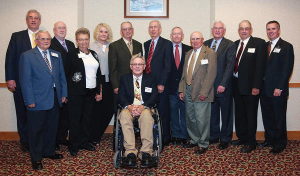 The War Memorial Hospital Development Committee held its inaugural President's Dinner on June 14 at Cacapon Resort State Park. Guests honored were, first row, from left, Bob Banks, Janie Swaim (in honor of Gladys Butts), Glen Stotler and Dr. Edward Quarantillo. Second row, Charles S. Trump IV (in honor of Charles S. Trump II), Bill Locke, Dr. Mira McLeod-Birschbach, Warren Widmyer (in honor of Ralph Widmyer), Herb Eppinger (in honor of Becky Ruppenthal), Brown Norton, Frank Subasic and Tommy Swaim, with Todd Way, senior vice president of regional operations for Valley Health. Honorees not in attendance were John Borg, Richard Gay, Nancy Douglas (in honor of Bob Hale), Richard Johnson, J. Philip Kesecker, Tom Seely and Hoy Shingleton.