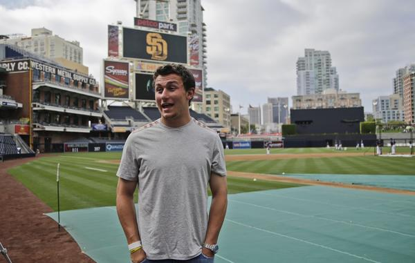 Johnny Manziel attends a baseball game in San Diego.