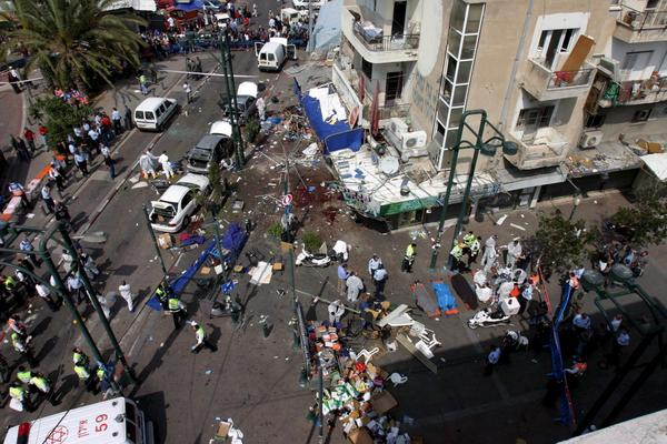 A general view of destruction at the old central bus station in Tel Aviv on April 17, 2006, after a suicide bombing. Among the victims was 16-year-old Daniel Wultz, whose parents have sued the Bank of China for allowing representatives of Islamic Jihad and Hamas to wire funds to terror cells involved in the attack.