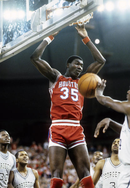 Houston Cougars center Hakeem Olajuwon (35) in action against the Georgetown Hoyas in the 1984 Final Four at the Kingdome.