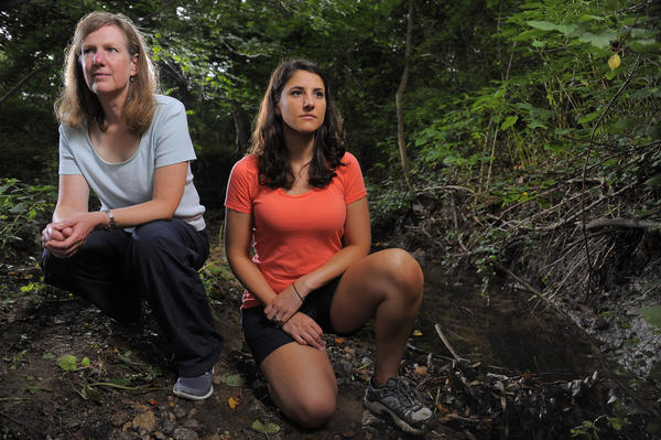 Helen Weems (left) and Alexandra Adkins worked to secure a grant to study preservation of a steam behind their Columbia neighborhood.