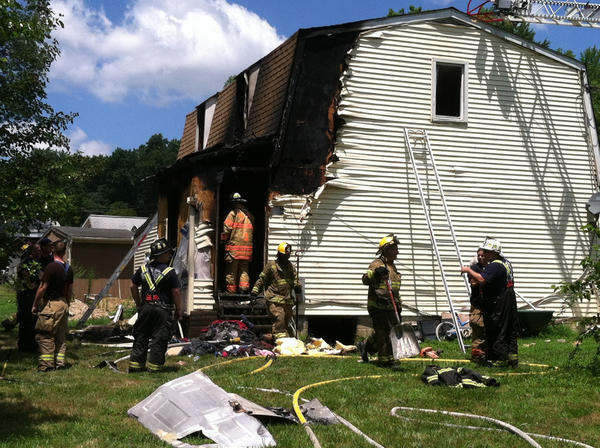 Fire extensively damaged a home on Fort Hoye Road in the Joppatowne area early Monday afternoon.