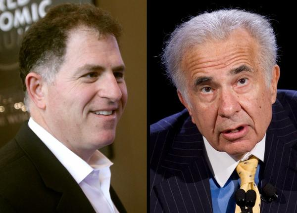 Billionaire Carl Icahn (right) has sweetened his bid for Dell Inc. in an effort to block Chief Executive Michael Dell (left) from taking the company private.