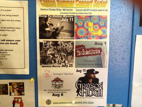 Town officials in Canton had posters in town hall promoting its free summer concert series. The next one is on July 18.