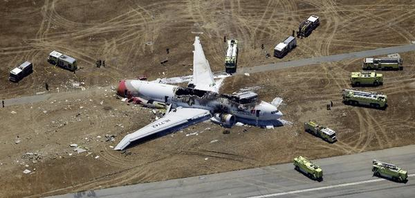 The wreckage of Asiana Airlines Flight 214.