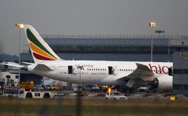 An Ethiopian Airlines' Boeing 787 Dreamliner caught fire at Heathrow Airport in London.