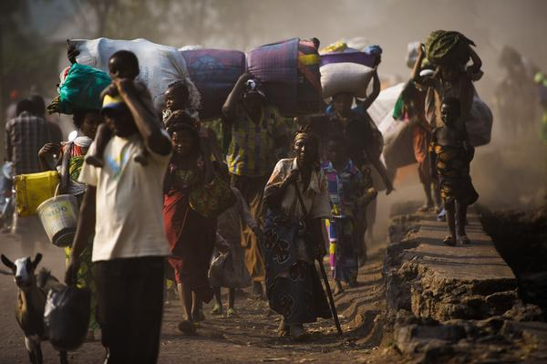 Displaced Congolese flee fighting near Goma in the Democratic Republic of Congo.
