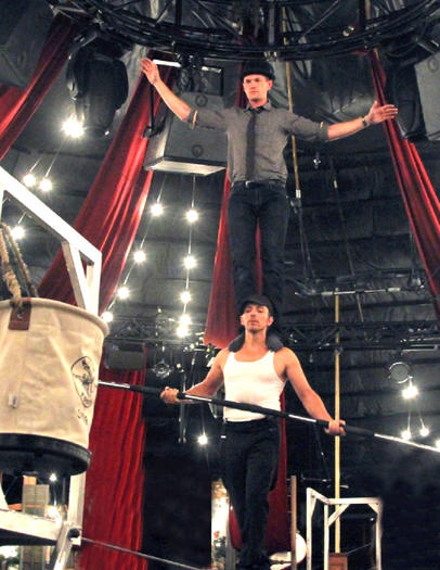 Neil Patrick Harris and Tony Hernandez on the high wire in Las Vegas.
