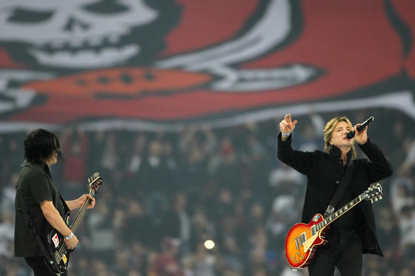 The Goo Goo Dolls perform before the Bears-Bucs game at Wembley Stadium in London, England on Sunday, Oct. 23, 2011.