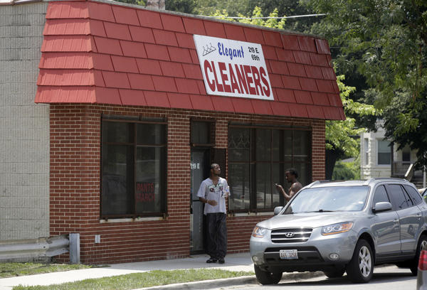 Elegant Cleaners in the 200 block of East 69th Street, where a 72-year-old man was shot during a robbery Monday.