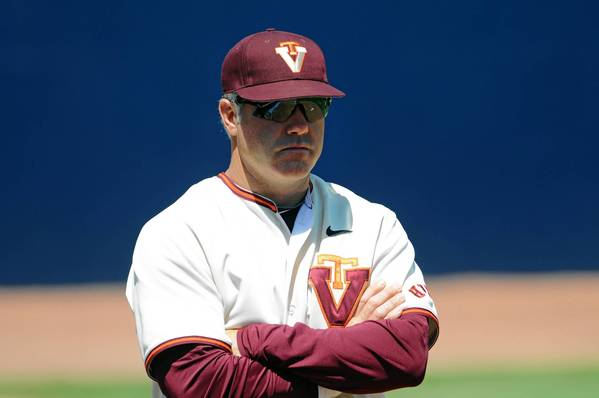 Pat Mason looks on during Virginia Tech's game vs. Georgia Tech in the 2013 ACC baseball tournament in Durham, N.C. Mason was named head coach for the Hokies on June 27, 2013, after serving as associate head coach this season.