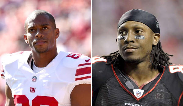 New York Giants receiver Victor Cruz, left, and Atlanta Falcons wideout Roddy White both apologized after tweeting their initial reactions to the George Zimmerman murder trial verdict.