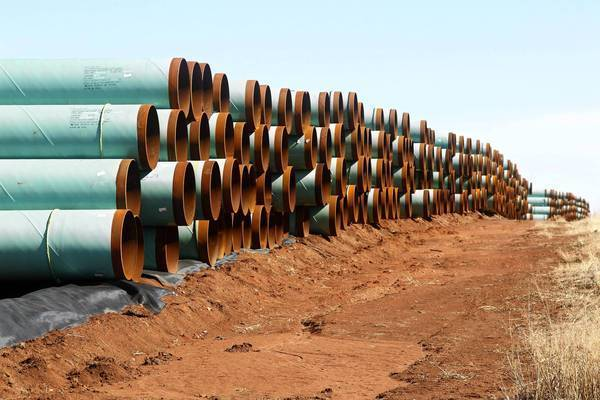Pipes for the Keystone XL project sit near Ripley, Okla.