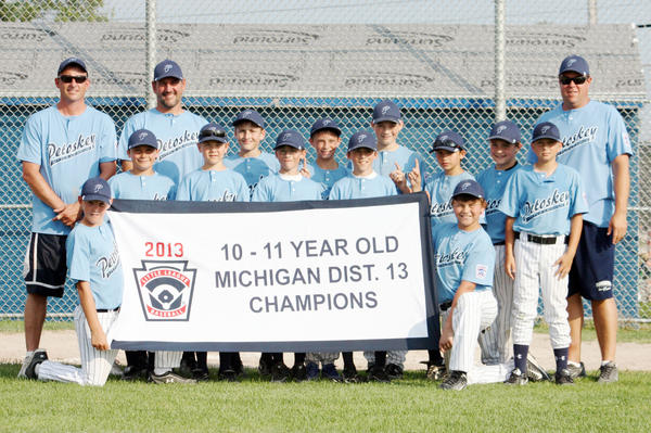 The Petoskey Little League Age 11 tournament team captured the District 13 tournament title Monday in Sault Ste. Marie as they defeated Cheboygan, 11-1, in the title game. Petoskey will host a best-of-three sectional tournament beginning Saturday, July 20, at Bates Park. Team members are front (from left) Trevor Shuman, Nathaniel Rodriguez; middle, Caden Eaton, Ben Taylor, Jacob Sobczak, Brett Sobczak, Eero Gross, Timothy Lake, Kyle Kozlowski; back, coach Jim Sobczak, coach Phil Duran Anders Duran, Timmy Crittenden, Janssen Byers and manager CT Shuman.