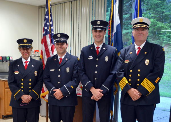The Avon Volunteer Fire Department recently promoted two of its members, Tom Reller and Aaron Gelber, to lieutenant. Pictured from left are AVFD Steward and Fire Police Lt. Jean Barton, Reller, Gelber and AVFD Chief Michael Trick.