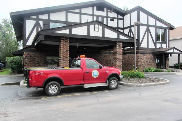 A public works truck sits outside of Lake Zurich's village hall. Former Director David Heyden resigned earlier this year after an investigation alleged he misused village resources.