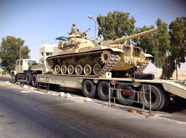 An Egyptian military tank is deployed in the northern Sinai town of Arish.