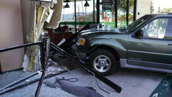 No injuries were reported at this Wingstop in Burbank Tuesday after an SUV crashed into the storefront.