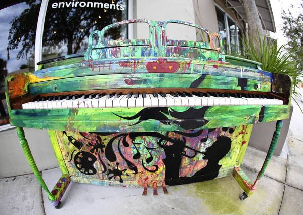A piano painted by MOAFL art students is displayed at Cadence in Fort Lauderdale. Five pianos painted by Brian Buzzella, Luzalma Gonzalez, Richard Vergez and MOAFL art students, were placed in public spaces around Fort Lauderdale as a part of the Play Your City program.