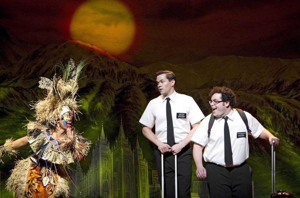 Rema Webb, Andrew Rannells, Josh Gad in Book of Mormon at New York's Eugene O'Neill Theatre.