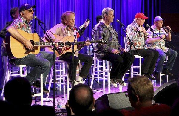 The Beach Boys, from left, David Marks, Al Jardine, Brian Wilson, Mike Love and Bruce Johnston at The GRAMMY Museum. Wilson is the subject of a new biopic from TV veteran John Wells.