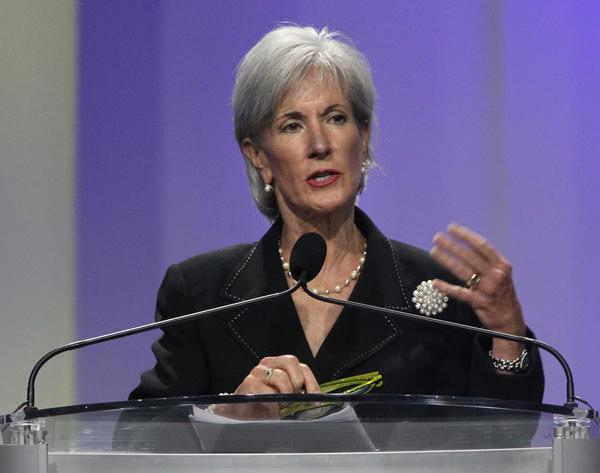 Health and Human Services Secretary Kathleen Sebelius speaks Tuesday afternoon at the NAACP national convention, being held this year in Orlando.