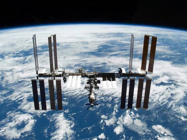 The International Space Station photographed soon after the space shuttle Atlantis and the station began their post-undocking separation.