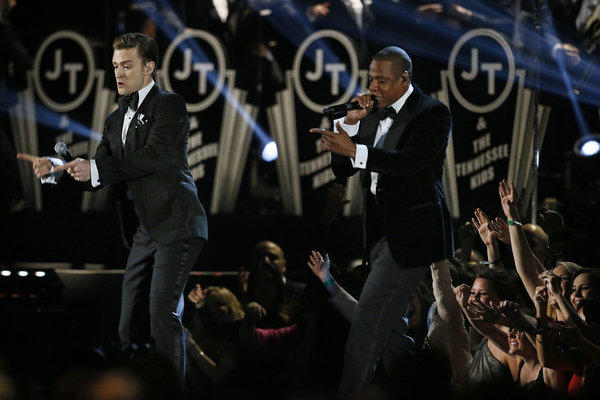 Justin Timberlake and Jay-Z perform at the 55th Annual Grammy Awards at Staples Center.