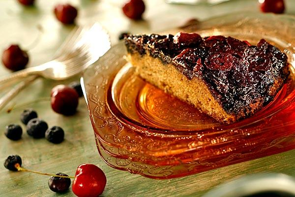 Spiced cherry and blueberry upside-down cake