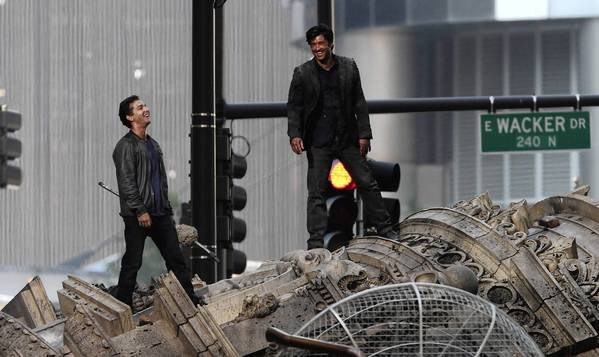 "Shia LaBeouf, left, shown filming ""Transformers: Dark of the Moon"" in Chicago with Patrick Dempsey, won't be back for the fourth installment. Mark Wahlberg will star."