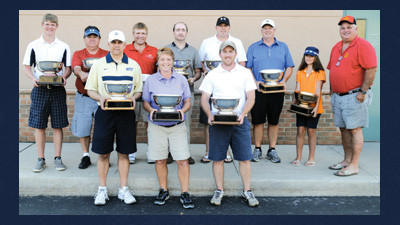 Winners in the 2013 Somerset County Amateur Golf Championship are, from left, (front) Bob Minnick, Teryll Gribble, Adam Fitzgerald, (back) Doug Reckner, Mickey Talley, Mike Abramowich, Charles Trimpey, Shawn Kyle, Rick Grebosky, Vileska Gelpi and tournament director Mike Jones. Absent from the photo were Penan Johnson and Denny Leyman.