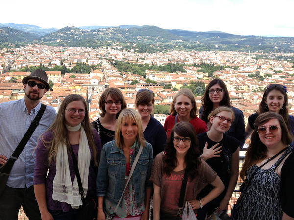 Northern State University students went on a trip to Italy last month. Some of the group climbed to the top of the dome of the Florence Cathedral. Front from left, Jeanna Jerde, Hillarey Holland, Alissa Blinder, Monica Olson and Kira Neville. Back from left, Greg Blair, Kallyn Jerde, Kelsee Hartman, Erin Crawford, Lindsay Ciavarella and Kindra Holsing.