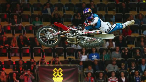 Josh Sheehan of Australia performs in the Moto X speed and style competition on Day 2 of the X- Games at Olympic Parc on June 28 in Munich, Germany.
