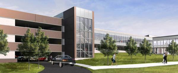 A rendering of Harper Community College's new parking structure.