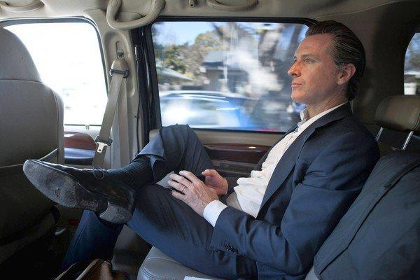 Lt. Governor Gavin Newsom in his California Highway Patrol driven transport vehicle between speaking engagements in Silicon Valley on 28 Feb 2013