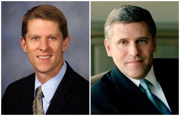 John Martin, left, will succeed Phil Kent as CEO of Turner Broadcasting.