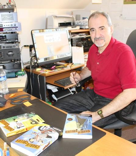 Author John Madormo with his three books that feature kid detective Charlie Collier: The Homemade Stuffing Caper, The Camp Phoenix Caper and The Copycat Caper.