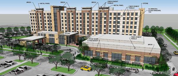 The Freedom Plaza development will be built on 13.2 acres of vacant land on Abriter Court between Diehl Road and Interstate 88. The campus would include a 168-room Embassy Suites hotel with a restaurant and a 13,000-square-foot banquet facility that could hold more than 1,000 people. There also will be four free-standing restaurants.