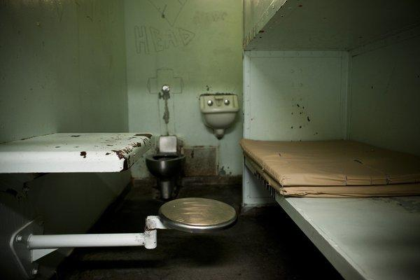 A single-person cell at the L.A. County Men's Central Jail.