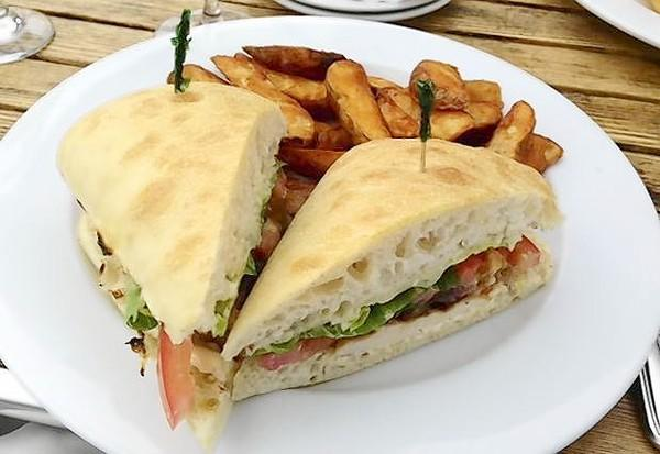 Grilled chicken BLT on ciabatta bread served at 121 Restaurant in Oxford.